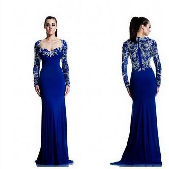 070ce378999004 Royal Blue Dubai Long Sleeve Muslim Women Dress Mermaid with Crystals  Formal Arabic Style Evening Gowns Dresses robe de soiree-in Dresses from  Women's ...