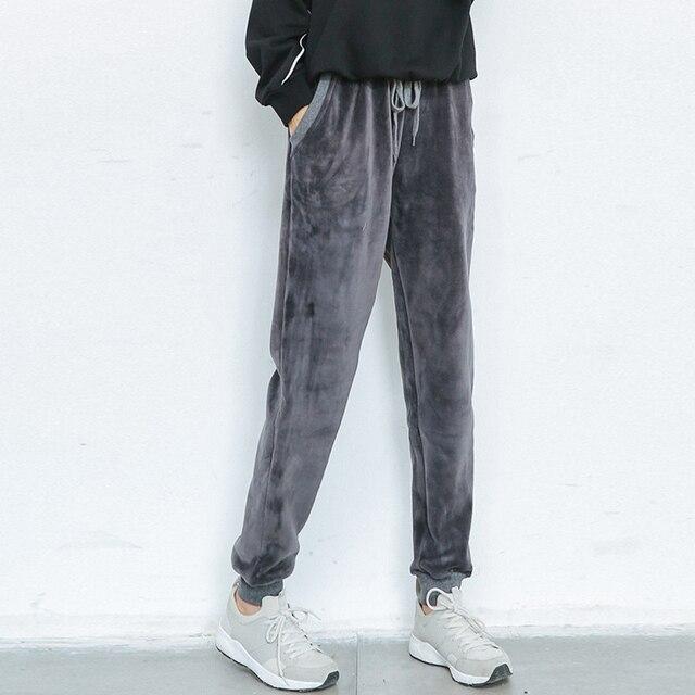 Invierno de las nuevas mujeres de moda de alta cintura Tether Harlan flojos ocasionales de terciopelo espesar pantalones del todo-fósforo Marea modelos