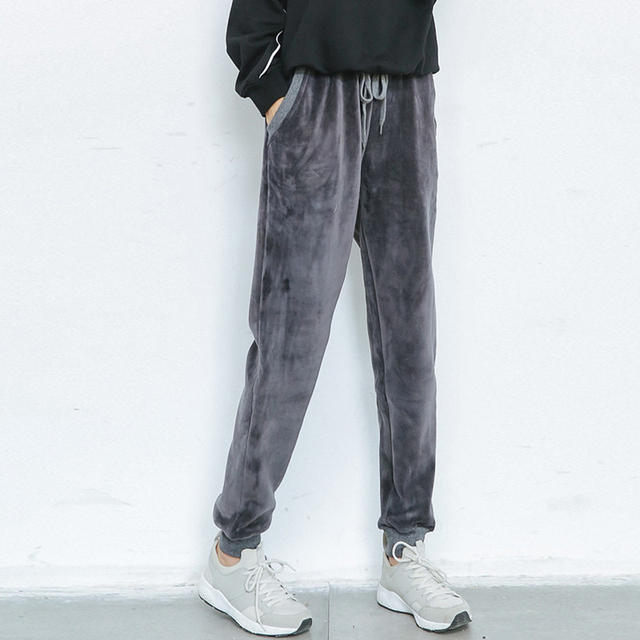 Winter new women's fashion high waist Tether casual loose velvet thicken Harlan pants all-match Tide models