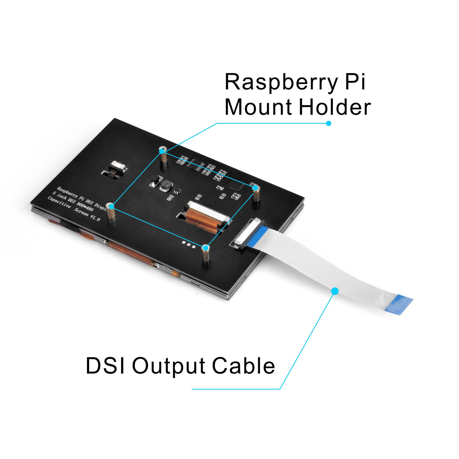 Image 2 - New 5 inch TFT LCD Display Capacitive Touch Screen DSI Connector 800x480 For Raspberry Pi 4 Pi 3 B+-in Demo Board Accessories from Computer & Office