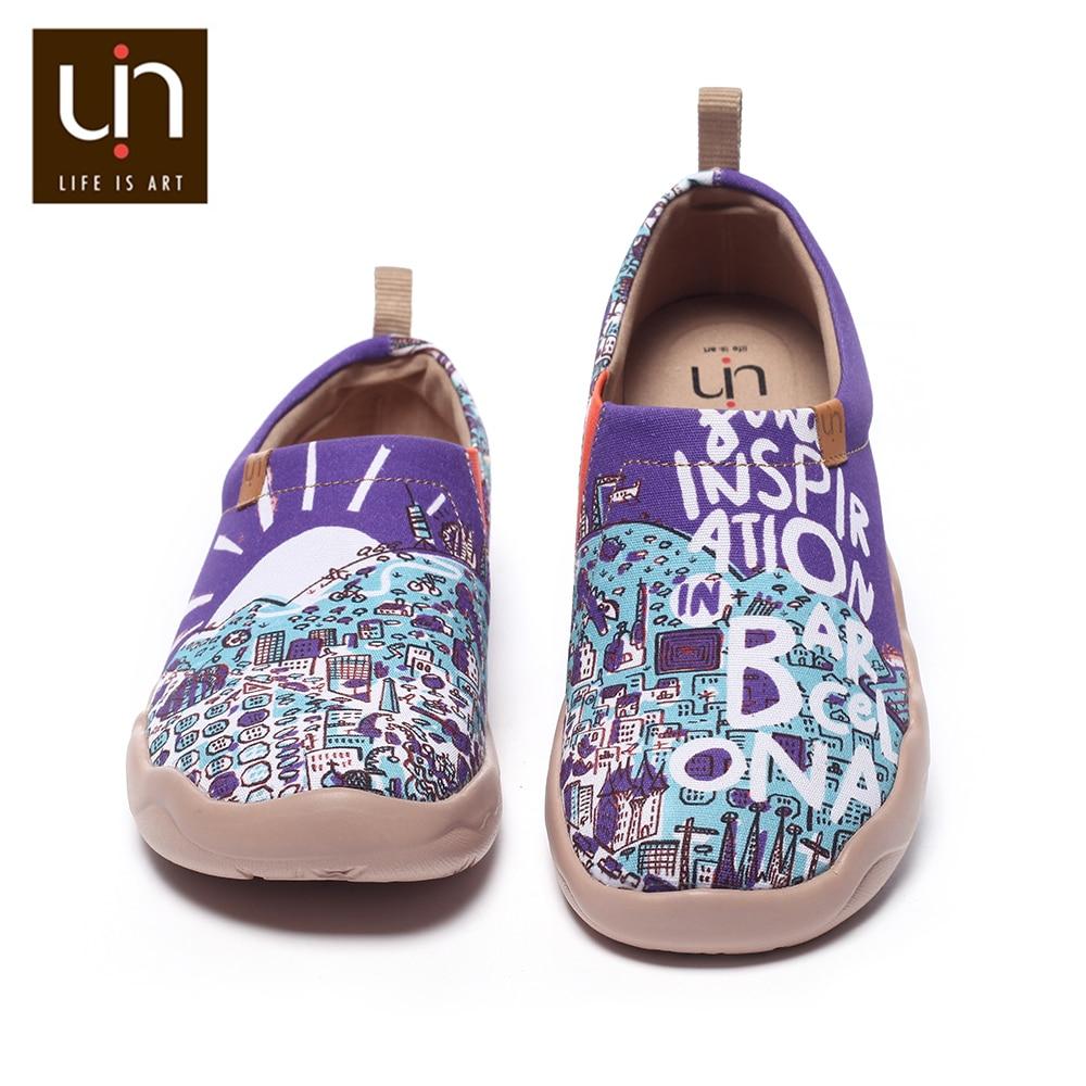 Ayakk.'ten Erkek Rahat Ayakkabılar'de UIN ilham üzerinde Barcelona tasarım erkekler boyalı kanvas ayakkabılar seyahat Loafer nefes geniş ayak rahat konfor ayakkabı hafif'da  Grup 2