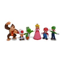цены 6pcs/set Anime Figure Mario Bros PVC Action Model Doll Toys For Kids Gifts Free Shipping