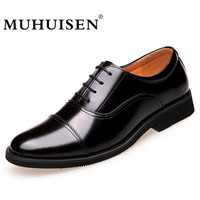 MUHUISEN Fashion High Quality Leather Shoes Men Lace Up Business Shoes Male Dress Shoes Spring Autumn
