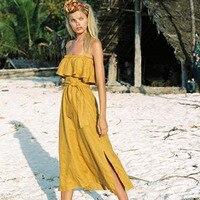 Sundresses Plus Sizes Elegant Beach Dresses Boho Chic Tunic Long Dress For Women Suspender Off Shoulder Dresses Clothing Beach