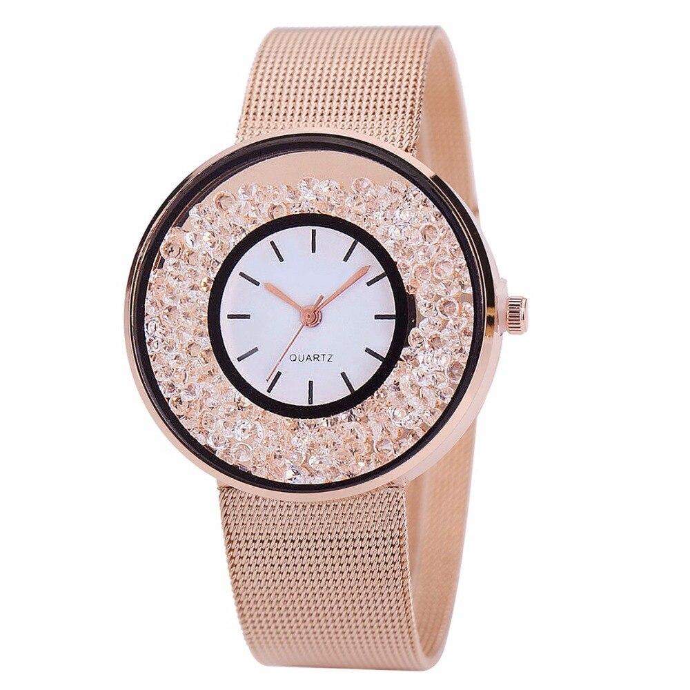 2018 Nueva Moda Casual de Acero Inoxidable Reloj de Cuarzo de Plata - Relojes para mujeres