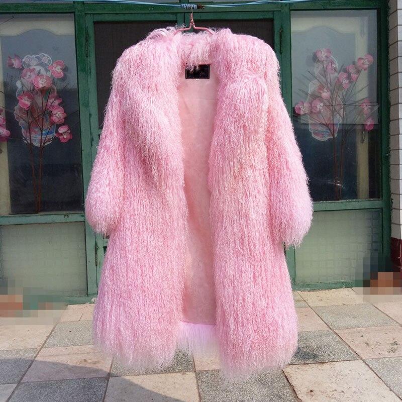 light Taille Gray pink Pelt F1060 Plus red Veste 2018 La green Femmes Mongolie Nouvelle Personnalisé Gratuite Réel black Livraison Green Fourrure 80 De Mouton Cm Manteau Pleine XiTZuPOk