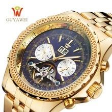 OUYAWEI reloj de Los Hombres Mecánicos Relojes de Marca de Lujo de Oro Automático Reloj Masculino Tourbillon Calendario Completo Reloj de Pulsera relogio masculino