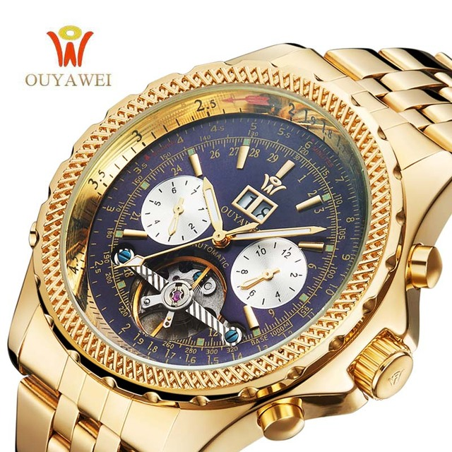 OUYAWEI Men Mechanical Watches Luxury Brand Automatic Gold Tourbillon Male Complete Calendar Clock Wrist Watch relogio masculino