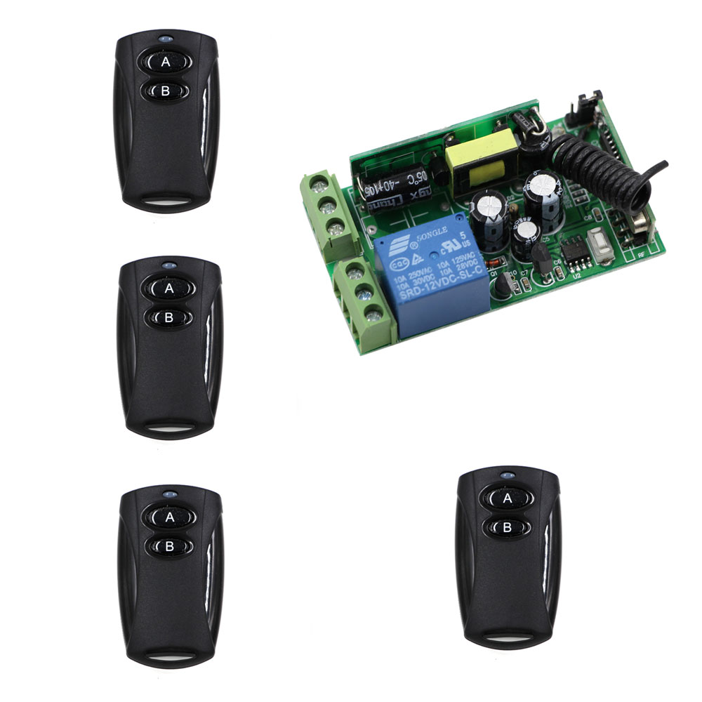 AC85-250V 1CH Relay Wireless Remote Control Switch Remote Switch Radio 1 CH 1CH 10A Relay Remote ON OFF For LED Lamp Door Gate 315 433mhz 12v 2ch remote control light on off switch 3transmitter 1receiver momentary toggle latched with relay indicator