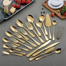 Набор посуды из блестящего золота, набор столовых приборов из чистого золота, набор столовых приборов из нержавеющей стали 18/10, столовый нож для мяса, стейка, столовые вилки для мороженого, столовые приборы