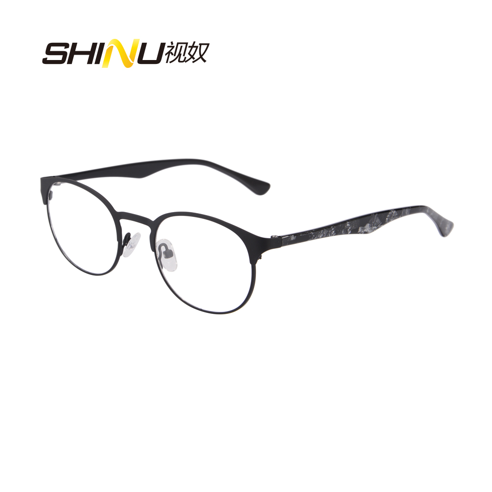3855a74140 2016 New Designer Woman Glasses Optical Frames Metal Round Glasses Frame  Clear lens Eyeware Black Silver red Eye Glass SR8026-in Eyewear Frames from  Women s ...