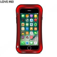 Para Apple iPhone 7 Plus Caso Cintura iPhone7 7 Mais Casos À Prova de Choque À Prova D Água LoveMei Vidro Temperado Rígido Tampa de Metal de Alumínio