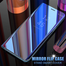 For OPPO F5 F7 F9 R11 Plus Smart Mirror Flip Stand Case For A3 A5 A7 A3S A71 A83 R17 Pro Find X Luxury Rugged Clear View Cover(China)