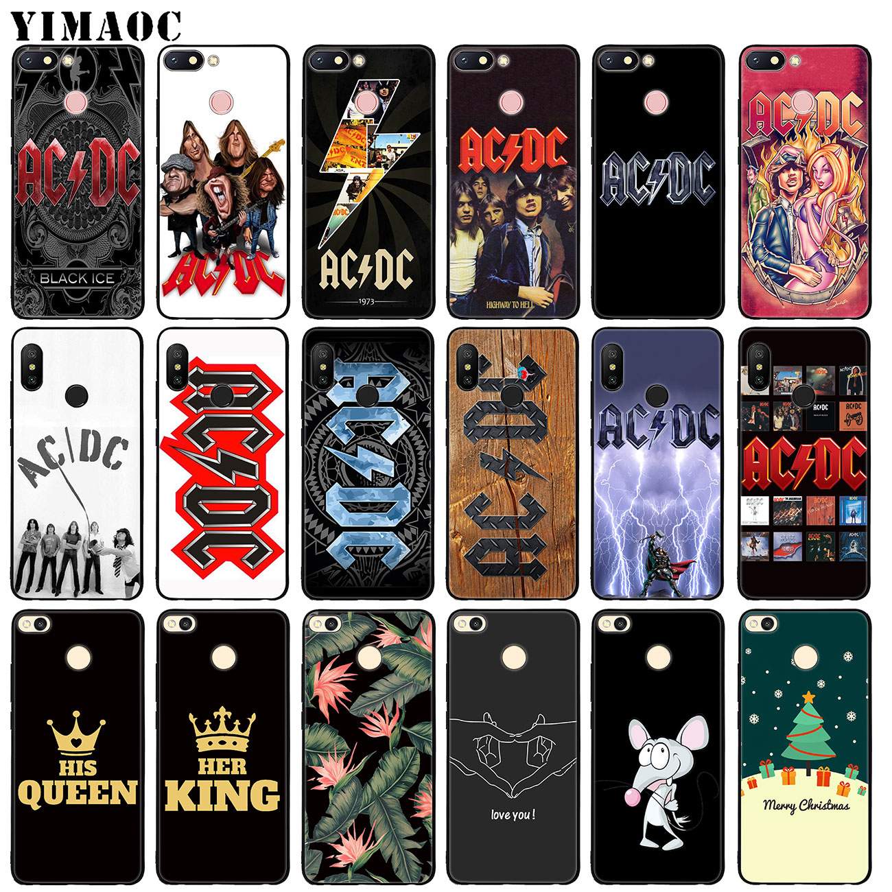 YIMAOC ac <font><b>dc</b></font> acdc poster music Soft Silicone Case for Xiaomi Redmi K20 Pro 6A 7A Note 8 7 <font><b>5</b></font> 6 Pro Mi Black flower TPU Cover image