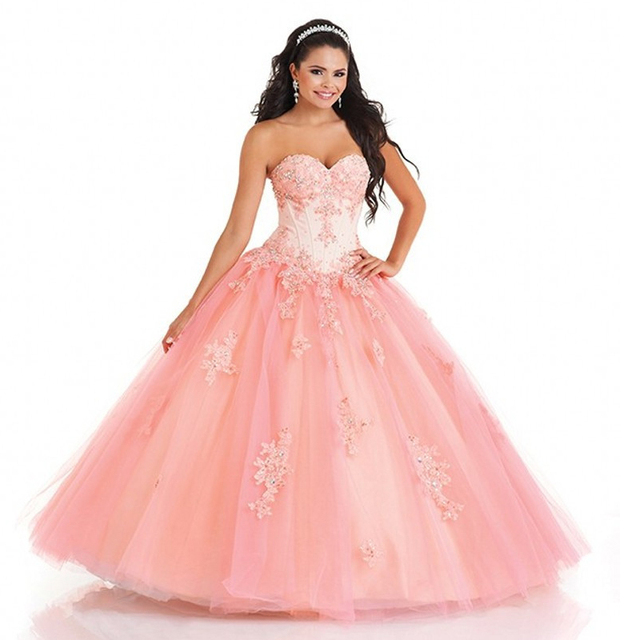 b0c0591eef6 Fashion Design Sweetheart Ball Gown Applqiues Tulle Vestidos De 15 Anos  Sweet 16 Dresses Coral Quinceanera Dresses With Jacket