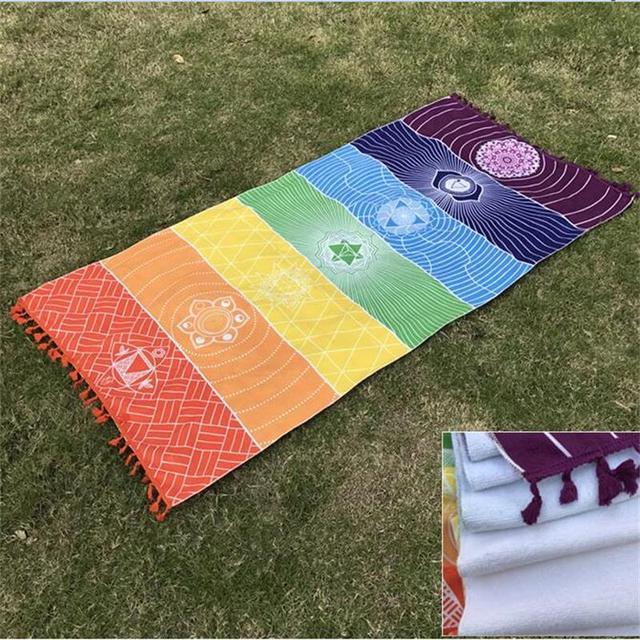 Material de toalla de mejor calidad Bohemia India Mandala manta 7 Chakra  rayas arcoíris tapiz Toalla bd563bcc04b5