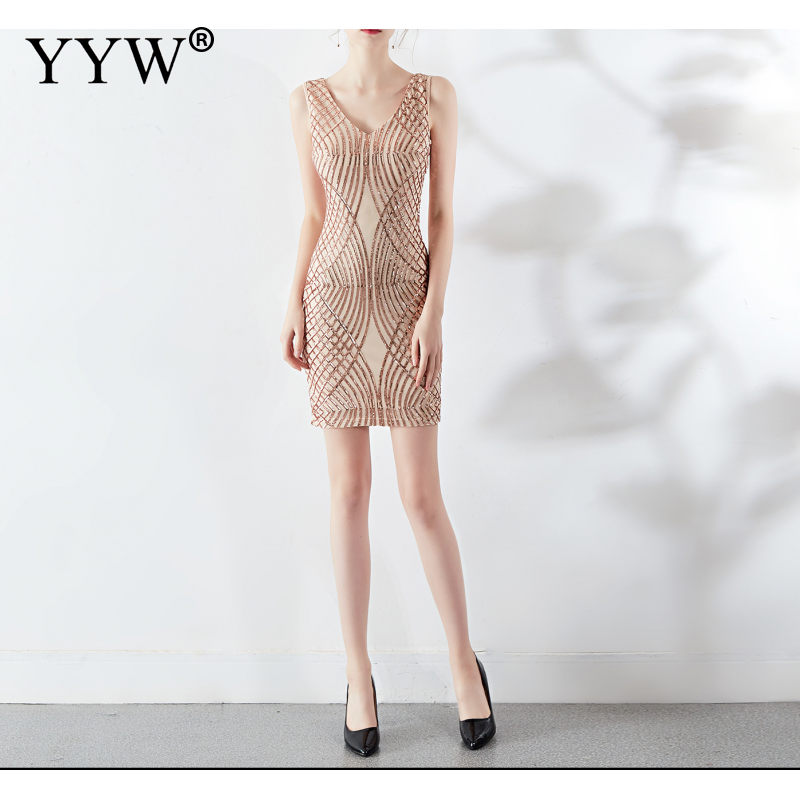 Gold Sequin   Dress   Party   Prom     Dresses   Women 2019 V Neck Tank Sleeveless Sexy Night Club Short   Dress   Formal Bodycon Women Vestidos