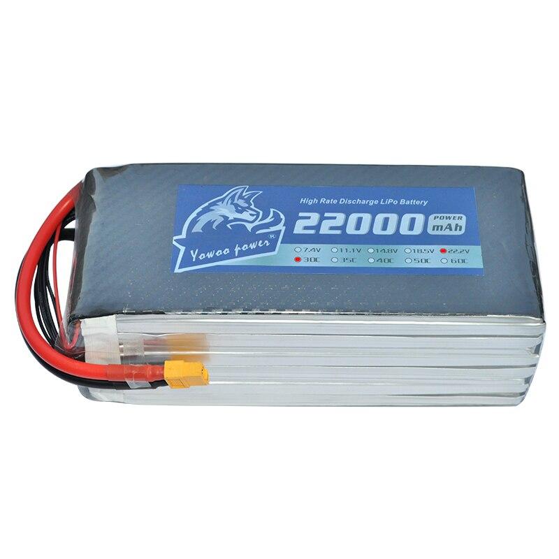 YOWOO Lipo Battery 22000mah 22.2V 30C MAX 60C 6S RC Bateria Drone AKKU For Helicopter Boat Airplane Car Quadcopter UAV FPV DJI