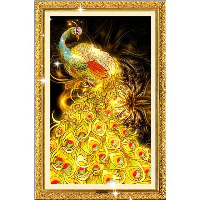 30*45cm beaded embroidery  5d diy diamond painting mosaic needlework diamond cross stitch animals gold peacock rubiks cube drill