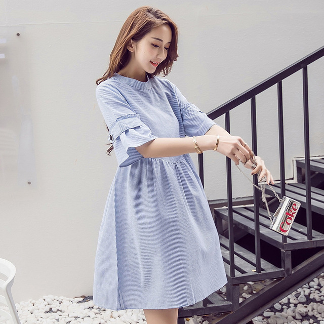 2018 Summer Moms Party Maternity Dresses Cotton Blue Striped Maternity  clothes Pregnant Clothes Pregnant Women Dresses dee114925acb