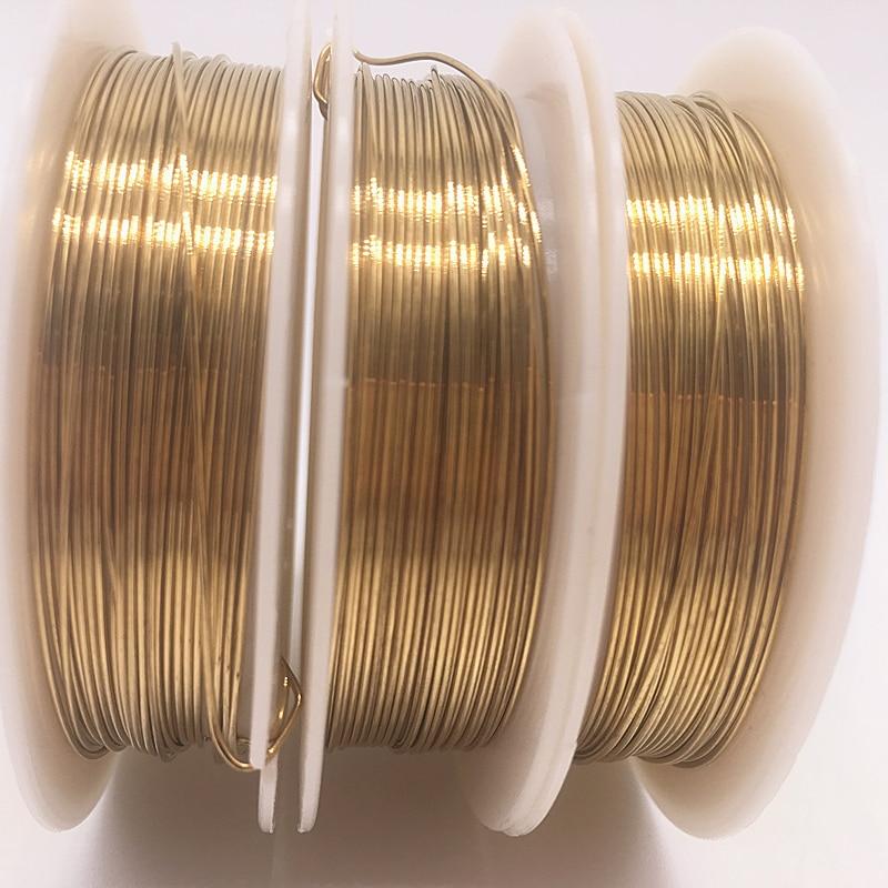 Оптовая продажа 0,2/0,3/0,4/0,5/0,6/0,7/0,8/1,0 мм, медные провода из латуни, проволока для бисероплетения для изготовления ювелирных изделий, золотые цв...