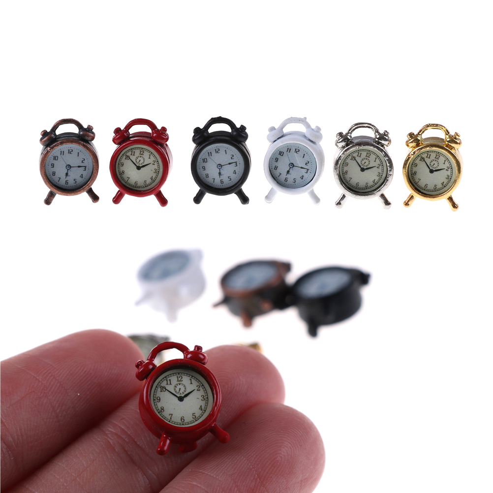 1pcs Lovely 1:12 Scale Alarm Clock Mini Home Decoration Dollhouse Miniature Toy Doll Kitchen Living Room Accessories 6 Colors