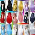16 Colors Women Synthetic hair wigs heat resistant Pink Black Blue Red Yellow white Blonde Purple straight cosplay wigs 80cm