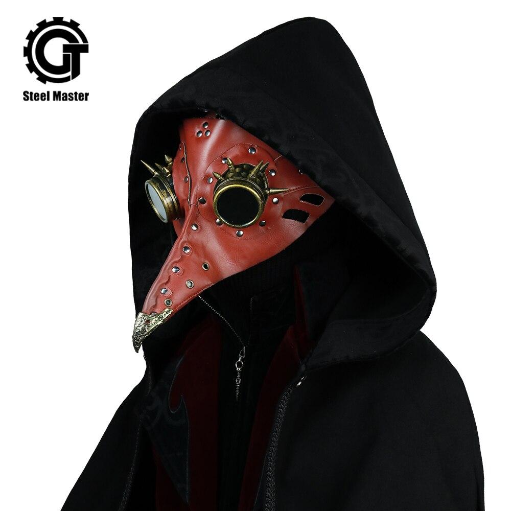 2018 New Red Plague Doctor Mask Steampunk Long Nose Cosplay Fancy Men Mask Gothic Retro Rock Leather Halloween Birds Beak Masks
