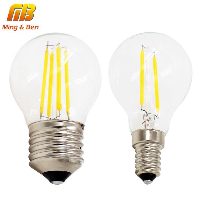 G45 LED Filament Ball Bulb E27 E14 220V 2W 4W Retro Loft Style Fit For Chandelier Rope Lights Table Light Decoration LED Bulbs