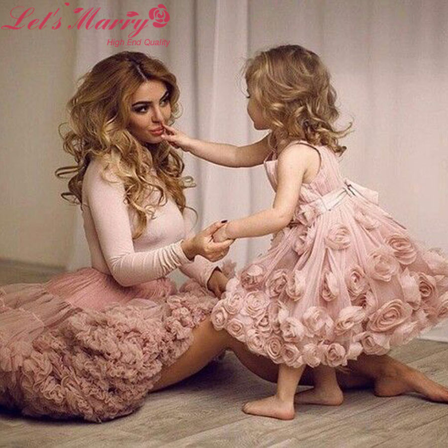 WDZ 148 Mutter Tochter Brautkleider Pink Langarm robes de mariee ...