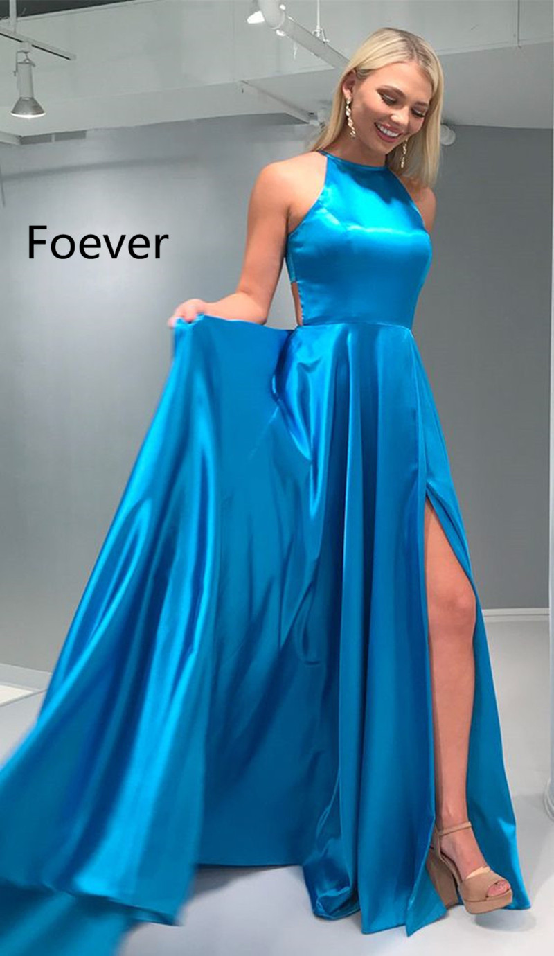Charming Satin   Evening     Dresses   Sexy Slit Prom   Dress   Long A-line Party Gowns vestido de fiesta Graduacion with Train