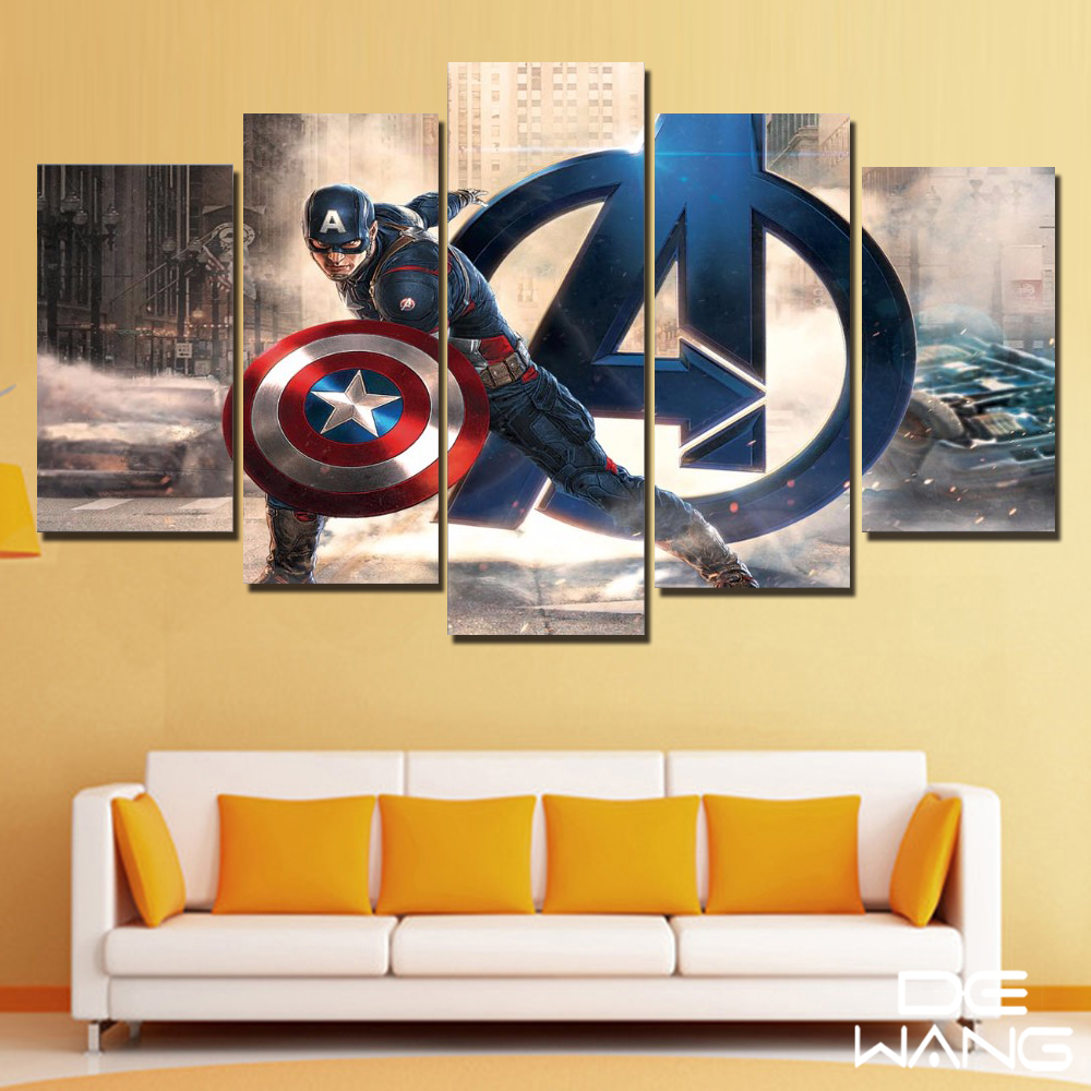 5 Painting Canvas Wall Art Pint Poster Super Hero Avengers Captain ...