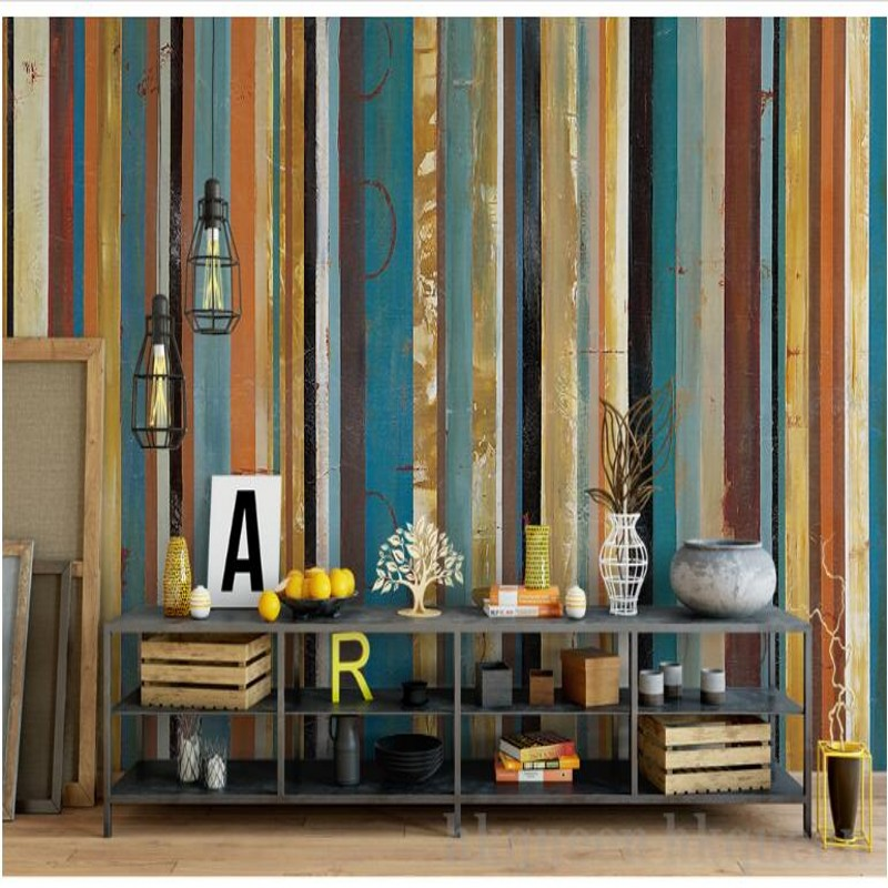 Beibehang Custom Large-scale Fresco Modern Art European Minimalist Wood Texture Stripes Abstract Background Wall  Wallpaper