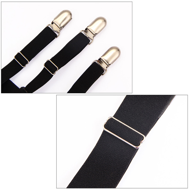 2 Pcs Men Shirt Stays Belt with Non-slip Locking Clips Keep Shirt Tucked Leg Thigh Suspender Garters Strap LL@17 4