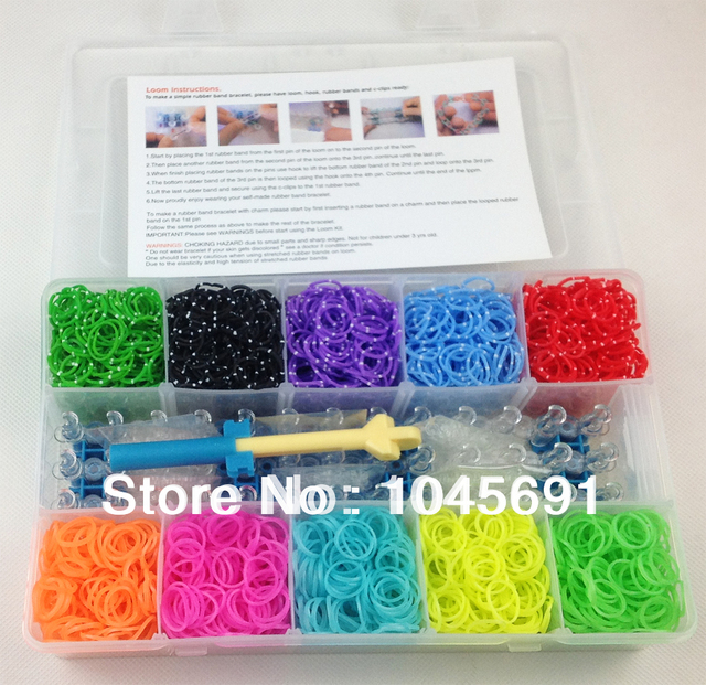 Crazy Loom Bands Kit 10 Colors Of 3600 Bands140 Clips12 Charms1