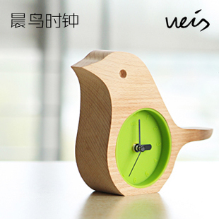 Weis bird clock log clock ofhead clock beech wooden desk clock