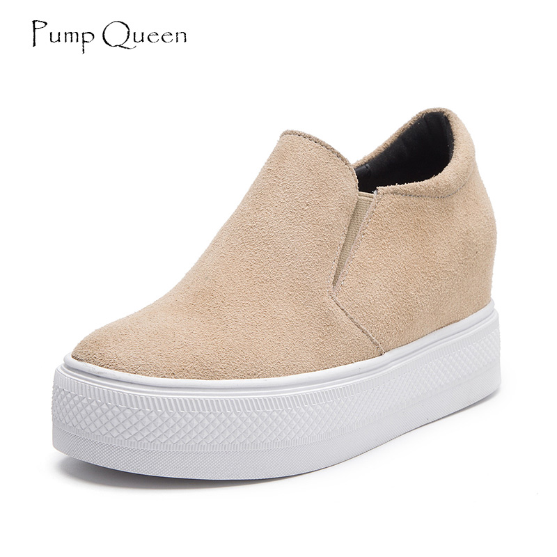 Casual Shoes Woman Platform Women Shoes Flats Black 2018 Spring Fall Solid Slip On Wedge Round Toe Suede Leather tenis feminino xiaying smile woman flats women brogue shoes loafers spring summer casual slip on round toe rubber new black white women shoes
