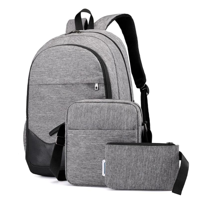 3pcs/Set Mens Backpacks Unisex Travel Nylon Backpacks Teen Shoulder School Bags Clutch Bags gray 20-35 litre 10