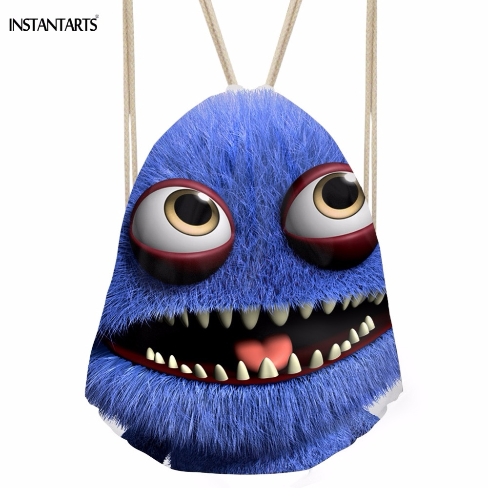 INSTANTARTS Kawaii 3D Open Mouth Monster Print Girls Boys Drawstrings Bags Fashion Backpack for Teenage Casual Chidren Schoolbag