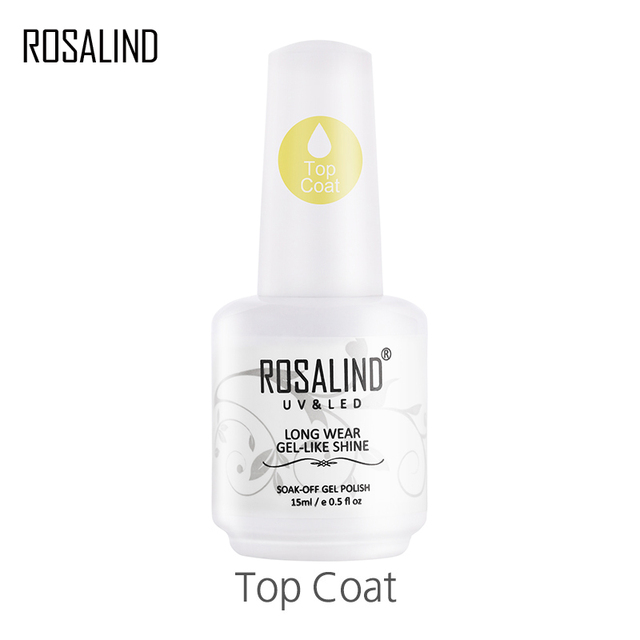 ROSALIND 15ml Top Coat Gel Nail Polish Gel Polish Vernis Semi For Nail Art Design  Nail UV LED Lamp Soak Off Top White