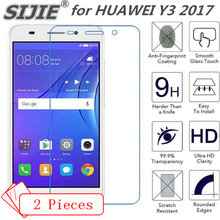 2pcs Tempered Glass For Huawei Y3 2017 Y 3 Screen protective 5 inch cover smartphone crystals Transparent toughened case 9H on