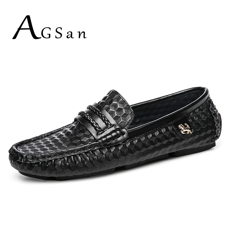 где купить AGSan Men Designer Loafers Genuine Leather Driving Shoes Fashion Mens Moccasins 2018 New Hombre Mocasines Black White Flats по лучшей цене