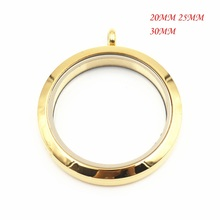 Glass Locket Round Stainless Steel Floating Necklace Pendant Gold Plain Screw Twist Living Memory