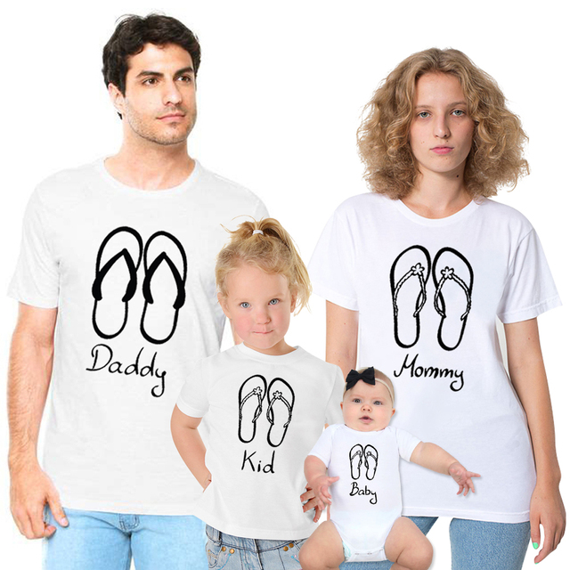 2a0387be140e QZ0006 Fashion Family Vacation T-shirt Funny Flip Flops Print Daddy Mommy  Kids Baby Tops