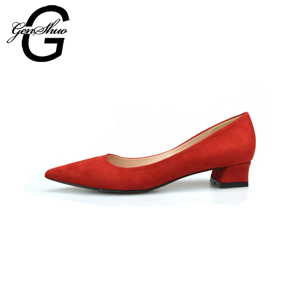 GENSHUO Fashion Pointed-Toe Women Pumps Sexy Kitten Heel Flock Shallow High Heels Shoes Wedding Woman Elegant Dress Office Shoes natural false eye lash extension set kit cosmetic makeup tool individual eyelash free shipping
