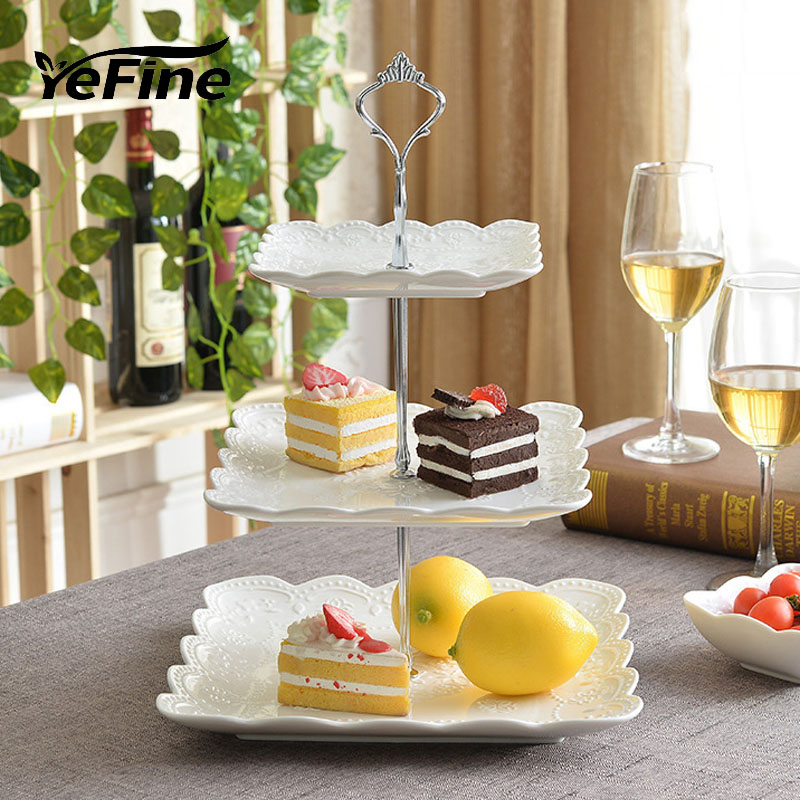 YeFine Exquisite Three Layer Plate Decorative Emboss Porcelain Meal Tableware Dish Craft Accessories for Pastry Sweet