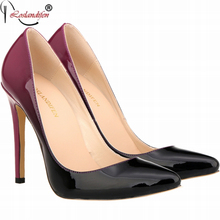 2016 brand red high heels patent leather women pumps pointed toe sexy ladies stiletto shoes woman