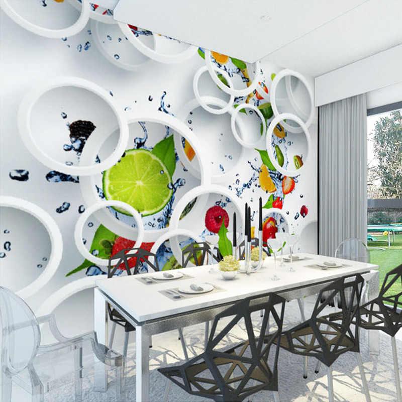 Papel pintado Mural de pared personalizado 3D estereoscópico arte moderno Gran Pared pintura frutas círculos sala de estar restaurante foto papel de pared