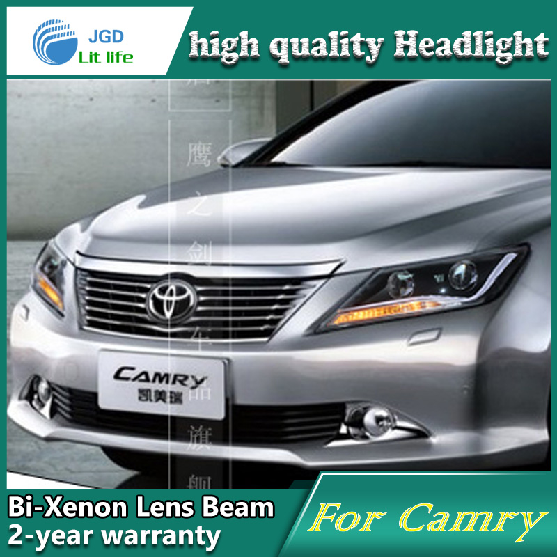 high quality Car Styling for Toyota Camry 2012 Headlights LED Headlight DRL Lens Double Beam HID Xenon Car Accessories hireno headlamp for 2016 hyundai elantra headlight assembly led drl angel lens double beam hid xenon 2pcs