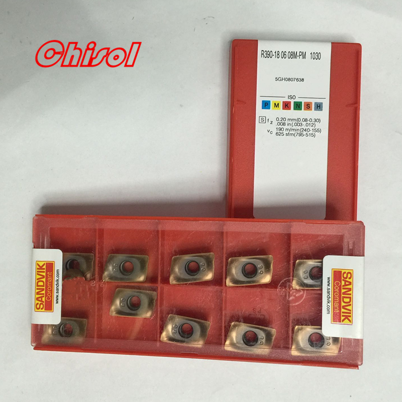 Free Shipping cnc carbide milling inserts R390-180608M-PM 1030 carbide cutter blade cutting tools